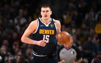 DENVER, CO - FEBRUARY 4: Nikola Jokic #15 of the Denver Nuggets handles the ball against the Portland Trail Blazers on February 4, 2020 at the Pepsi Center in Denver, Colorado. NOTE TO USER: User expressly acknowledges and agrees that, by downloading and/or using this Photograph, user is consenting to the terms and conditions of the Getty Images License Agreement. Mandatory Copyright Notice: Copyright 2020 NBAE (Photo by Garrett Ellwood/NBAE via Getty Images)