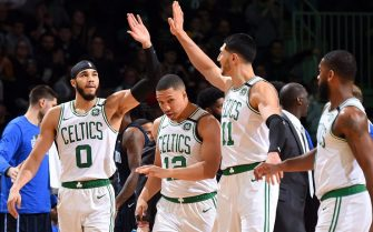 BOSTON, MA - FEBRUARY 5: Jayson Tatum #0 of the Boston Celtics and Enes Kanter #11 react to a play during the game against the Orlando Magic on February 5, 2020 at the TD Garden in Boston, Massachusetts.  NOTE TO USER: User expressly acknowledges and agrees that, by downloading and or using this photograph, User is consenting to the terms and conditions of the Getty Images License Agreement. Mandatory Copyright Notice: Copyright 2020 NBAE  (Photo by Brian Babineau/NBAE via Getty Images)