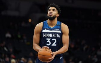 MINNEAPOLIS, MN -  FEBRUARY 5: Karl-Anthony Towns #32 of the Minnesota Timberwolves shoots a free throw against the Atlanta Hawks on February 5, 2020 at Target Center in Minneapolis, Minnesota. NOTE TO USER: User expressly acknowledges and agrees that, by downloading and or using this Photograph, user is consenting to the terms and conditions of the Getty Images License Agreement. Mandatory Copyright Notice: Copyright 2020 NBAE (Photo by Jordan Johnson/NBAE via Getty Images)