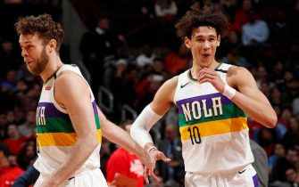 CHICAGO, IL - FEBRUARY 6: Nicolo Melli #20 and Jaxson Hayes #10 of the New Orleans Pelicans hi-five during the game against the Chicago Bulls on February 6, 2020 at United Center in Chicago, Illinois. NOTE TO USER: User expressly acknowledges and agrees that, by downloading and or using this photograph, User is consenting to the terms and conditions of the Getty Images License Agreement. Mandatory Copyright Notice: Copyright 2020 NBAE (Photo by Jeff Haynes/NBAE via Getty Images)
