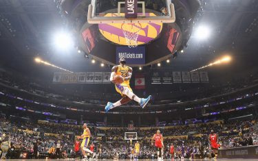 LOS ANGELES, CA - FEBRUARY 6: LeBron James #23 of the Los Angeles Lakers goes in for the dunk against the Houston Rockets on February 6, 2020 at STAPLES Center in Los Angeles, California. NOTE TO USER: User expressly acknowledges and agrees that, by downloading and/or using this Photograph, user is consenting to the terms and conditions of the Getty Images License Agreement. Mandatory Copyright Notice: Copyright 2020 NBAE (Photo by Andrew D. Bernstein/NBAE via Getty Images)