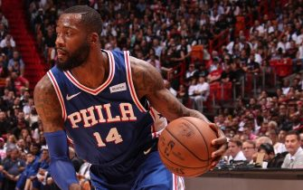 MIAMI, FL - APRIL 9: Jonathon Simmons #14 of the Philadelphia 76ers handles the ball during the game against the Miami Heat on April 9, 2019 at American Airlines Arena in Miami, Florida. NOTE TO USER: User expressly acknowledges and agrees that, by downloading and or using this Photograph, user is consenting to the terms and conditions of the Getty Images License Agreement. Mandatory Copyright Notice: Copyright 2019 NBAE (Photo by Issac Baldizon/NBAE via Getty Images)