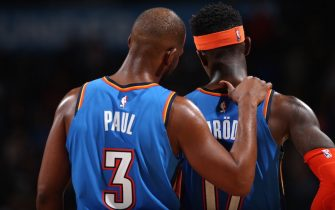 OKLAHOMA CITY, OK - FEBRUARY 7: Chris Paul #3 and Dennis Schroder #17 of the Oklahoma City Thunder talk during the game against the Detroit Pistons on February 7, 2020 at Chesapeake Energy Arena in Oklahoma City, Oklahoma. NOTE TO USER: User expressly acknowledges and agrees that, by downloading and or using this photograph, User is consenting to the terms and conditions of the Getty Images License Agreement. Mandatory Copyright Notice: Copyright 2020 NBAE (Photo by Zach Beeker/NBAE via Getty Images)