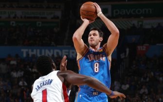 OKLAHOMA CITY, OK - FEBRUARY 7: Danilo Gallinari #8 of the Oklahoma City Thunder shoots the ball against the Detroit Pistons on February 7, 2020 at Chesapeake Energy Arena in Oklahoma City, Oklahoma. NOTE TO USER: User expressly acknowledges and agrees that, by downloading and or using this photograph, User is consenting to the terms and conditions of the Getty Images License Agreement. Mandatory Copyright Notice: Copyright 2020 NBAE (Photo by Zach Beeker/NBAE via Getty Images)