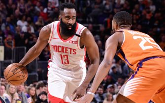 PHOENIX, AZ - FEBRUARY 7: James Harden #13 of the Houston Rockets handles the ball against the Phoenix Suns on February 07, 2020 at Talking Stick Resort Arena in Phoenix, Arizona. NOTE TO USER: User expressly acknowledges and agrees that, by downloading and or using this photograph, user is consenting to the terms and conditions of the Getty Images License Agreement. Mandatory Copyright Notice: Copyright 2020 NBAE (Photo by Michael Gonzales/NBAE via Getty Images)