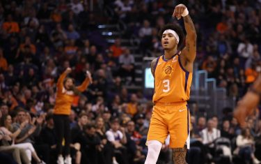 PHOENIX, ARIZONA - FEBRUARY 07: Kelly Oubre Jr. #3 of the Phoenix Suns reacts to a three point shot against the Houston Rockets during the second half of the NBA game at Talking Stick Resort Arena on February 07, 2020 in Phoenix, Arizona. NOTE TO USER: User expressly acknowledges and agrees that, by downloading and or using this photograph, user is consenting to the terms and conditions of the Getty Images License Agreement. Mandatory Copyright Notice: Copyright 2020 NBAE. (Photo by Christian Petersen/Getty Images)