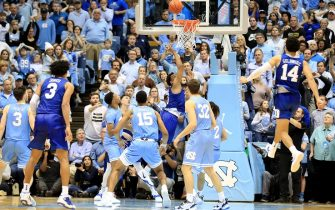 CHAPEL HILL, NORTH CAROLINA - FEBRUARY 08: Wendell Moore Jr. #0 of the Duke Blue Devils makes the game winning shot to defeat the North Carolina Tar Heels 98-96 during their game at Dean Smith Center on February 08, 2020 in Chapel Hill, North Carolina. (Photo by Streeter Lecka/Getty Images)