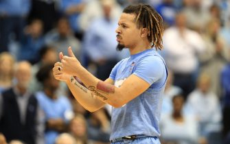 CHAPEL HILL, NORTH CAROLINA - FEBRUARY 08: Cole Anthony #2 of the North Carolina Tar Heels watches on against the Duke Blue Devils during their game at Dean Smith Center on February 08, 2020 in Chapel Hill, North Carolina. (Photo by Streeter Lecka/Getty Images)