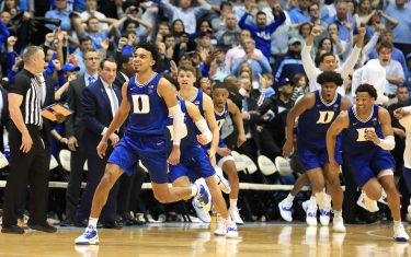 CHAPEL HILL, NORTH CAROLINA - FEBRUARY 08: Tre Jones #3 of the Duke Blue Devils reacts after making a shot at the end of regulation to send the game to overtime against the North Carolina Tar Heels at Dean Smith Center on February 08, 2020 in Chapel Hill, North Carolina. (Photo by Streeter Lecka/Getty Images)
