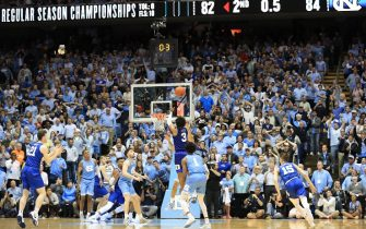 CHAPEL HILL, NORTH CAROLINA - FEBRUARY 08: Tre Jones #3 of the Duke Blue Devils makes a shot at the end of regulation to send the game to overtime against the North Carolina Tar Heels at Dean Smith Center on February 08, 2020 in Chapel Hill, North Carolina. (Photo by Streeter Lecka/Getty Images)