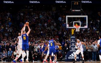 DENVER, CO - NOVEMBER 8: Nikola Jokic #15 of the Denver Nuggets shoots the game-winning sho against the Philadelphia 76ers on November 8, 2019 at the Pepsi Center in Denver, Colorado. NOTE TO USER: User expressly acknowledges and agrees that, by downloading and/or using this Photograph, user is consenting to the terms and conditions of the Getty Images License Agreement. Mandatory Copyright Notice: Copyright 2019 NBAE (Photo by Bart Young/NBAE via Getty Images)