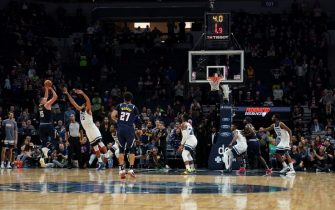 MINNEAPOLIS, MN -  NOVEMBER 10: Nikola Jokic #15 of the Denver Nuggets shoots the shot to win the game against the Minnesota Timberwolves  on November 10, 2019 at Target Center in Minneapolis, Minnesota. NOTE TO USER: User expressly acknowledges and agrees that, by downloading and or using this Photograph, user is consenting to the terms and conditions of the Getty Images License Agreement. Mandatory Copyright Notice: Copyright 2019 NBAE (Photo by Jordan Johnson/NBAE via Getty Images)