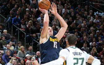 SALT LAKE CITY, UT - FEBRUARY 5: Nikola Jokic #15 of the Denver Nuggets shoots the ball against the Utah Jazz on February 5, 2020 at vivint.SmartHome Arena in Salt Lake City, Utah. NOTE TO USER: User expressly acknowledges and agrees that, by downloading and or using this Photograph, User is consenting to the terms and conditions of the Getty Images License Agreement. Mandatory Copyright Notice: Copyright 2020 NBAE (Photo by Melissa Majchrzak/NBAE via Getty Images)