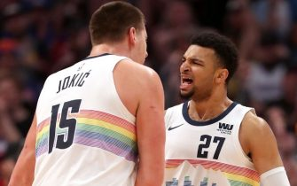 DENVER, COLORADO - JANUARY 13:  Nikola Jokic #15 and Jamal Murray #27 of the Denver Nuggets celebrate against the Portland Trail Blazers late in the fourth quarter at  the Pepsi Center on January 13, 2019 in Denver, Colorado. NOTE TO USER: User expressly acknowledges and agrees that, by downloading and or using this photograph, User is consenting to the terms and conditions of the Getty Images License Agreement. (Photo by Matthew Stockman/Getty Images)
