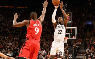 TORONTO, CANADA - FEBRUARY 8: Caris LeVert #22 of the Brooklyn Nets shoots the ball against the Toronto Raptors on February 8, 2020 at the Scotiabank Arena in Toronto, Ontario, Canada.  NOTE TO USER: User expressly acknowledges and agrees that, by downloading and or using this Photograph, user is consenting to the terms and conditions of the Getty Images License Agreement.  Mandatory Copyright Notice: Copyright 2020 NBAE (Photo by Ron Turenne/NBAE via Getty Images)