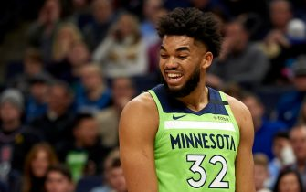 MINNEAPOLIS, MINNESOTA - FEBRUARY 08: Karl-Anthony Towns #32 of the Minnesota Timberwolves reacts to a call in the second half of the game against the Los Angeles Clippers at Target Center on February 8, 2020 in Minneapolis, Minnesota. NOTE TO USER: User expressly acknowledges and agrees that, by downloading and or using this Photograph, user is consenting to the terms and conditions of the Getty Images License Agreement (Photo by Hannah Foslien/Getty Images)