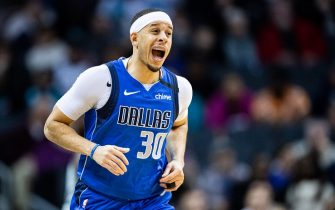 CHARLOTTE, NORTH CAROLINA - FEBRUARY 08: Seth Curry #30 of the Dallas Mavericks after he made a 3 point shot during the third quarter during his game against the Charlotte Hornets at Spectrum Center on February 08, 2020 in Charlotte, North Carolina. NOTE TO USER: User expressly acknowledges and agrees that, by downloading and/or using this photograph, user is consenting to the terms and conditions of the Getty Images License Agreement. (Photo by Jacob Kupferman/Getty Images)