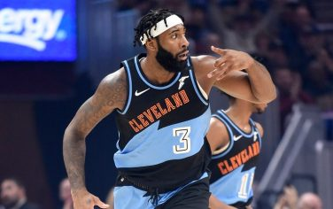 CLEVELAND, OHIO - FEBRUARY 09: Andre Drummond #3 of the Cleveland Cavaliers celebrates after scoring during the first half against the LA Clippers at Rocket Mortgage Fieldhouse on February 09, 2020 in Cleveland, Ohio. NOTE TO USER: User expressly acknowledges and agrees that, by downloading and/or using this photograph, user is consenting to the terms and conditions of the Getty Images License Agreement. (Photo by Jason Miller/Getty Images)