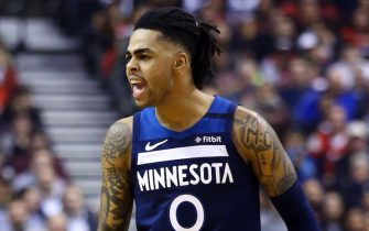 TORONTO, ON - FEBRUARY 10:  D'Angelo Russell #0 of the Minnesota Timberwolves shouts during the first half of an NBA game against the Toronto Raptors at Scotiabank Arena on February 10, 2020 in Toronto, Canada.  NOTE TO USER: User expressly acknowledges and agrees that, by downloading and or using this photograph, User is consenting to the terms and conditions of the Getty Images License Agreement.  (Photo by Vaughn Ridley/Getty Images)