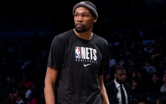 BROOKLYN, NY - JANUARY 29: Kevin Durant #7 of the Brooklyn Nets walks the sidelines during a timeout as the Long Island Nets take on the Capital City Go-Go during an NBA G League game on January 29, 2020 at Barclays Center in Brooklyn, New York. NOTE TO USER: User expressly acknowledges and agrees that, by downloading and or using this photograph, User is consenting to the terms and conditions of the Getty Images License Agreement. Mandatory Copyright Notice: Copyright 2020 NBAE (Photo by Mike Lawrence/NBAE via Getty Images)