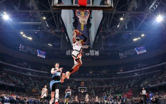 CLEVELAND, OH - FEBRUARY 9: Marcus Morris Sr. #31 of the LA Clippers dunks the ball against the Cleveland Cavaliers on February 9, 2020 at Rocket Mortgage FieldHouse in Cleveland, Ohio. NOTE TO USER: User expressly acknowledges and agrees that, by downloading and/or using this Photograph, user is consenting to the terms and conditions of the Getty Images License Agreement. Mandatory Copyright Notice: Copyright 2020 NBAE (Photo by David Liam Kyle/NBAE via Getty Images)