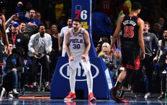 PHILADELPHIA, PA - FEBRUARY 9: Furkan Korkmaz #30 of the Philadelphia 76ers reacts during a game against the Chicago Bulls on February 9, 2020 at the Wells Fargo Center in Philadelphia, Pennsylvania NOTE TO USER: User expressly acknowledges and agrees that, by downloading and/or using this Photograph, user is consenting to the terms and conditions of the Getty Images License Agreement. Mandatory Copyright Notice: Copyright 2020 NBAE (Photo by Jesse D. Garrabrant/NBAE via Getty Images)