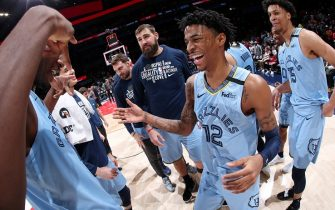 WASHINGTON, DC - FEBRUARY 9:  The Memphis Grizzlies celebrate following the game against the Washington Wizardson February 9, 2020 at Capital One Arena in Washington, DC. NOTE TO USER: User expressly acknowledges and agrees that, by downloading and or using this Photograph, user is consenting to the terms and conditions of the Getty Images License Agreement. Mandatory Copyright Notice: Copyright 2020 NBAE (Photo by Ned Dishman/NBAE via Getty Images)