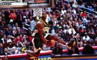 ATLANTA - FEBRUARY 8:  Desmond Mason #24 of the Seattle Sonics drives to the basket in the Sprite Rising Stars Slam Dunk Contest during the 52nd NBA All-Star Weekend at the Phillips Arena on February 8, 2003 in Atlanta, Georgia.  NOTE TO USER: User expressly acknowledges and agrees that, by downloading and/or using this Photograph, User is consenting to the terms and conditions of the Getty Images License Agreement  Mandatory Copyright Notice:  Copyright 2003 NBAE  (Photo by Nathaniel S. Butler/NBAE via Getty Images)