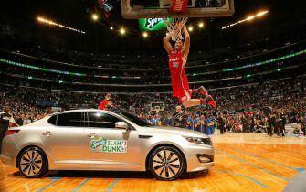during the Sprite Slam Dunk Contest as part of 2011 NBA All-Star Saturday Night presented by State Farm on February 19, 2011 at the Staples Center in Los Angeles, California.  NOTE TO USER:  User expressly acknowledges and agrees that, by downloading and or using this photograph, User is consenting to the terms and conditions of the Getty Images License Agreement.  Mandatory Copyright Notice:  Copyright 2011 NBAE (Photo by Nathaniel S. Butler/NBAE via Getty Images)