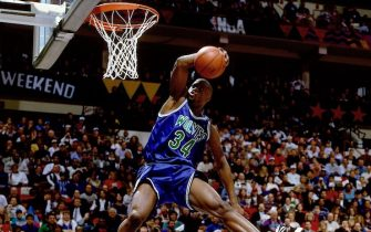 "MINNEAPOLIS - FEBRUARY 12:  Isaiah ""JR"" Rider of the Minnesota Timberwolves attempts a slam dunk during the 1994 Slam Dunk Contest on February 12, 1994 at the Target Center in Minneapolis, Minnesota.  NOTE TO USER: User expressly acknowledges that, by downloading and or using this photograph, User is consenting to the terms and conditions of the Getty Images License agreement. Mandatory Copyright Notice: Copyright 1994 NBAE (Photo by Nathaniel S. Butler/NBAE via Getty Images)"