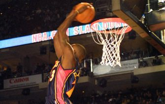 PHILADELPHIA, :  Jason Richardson, a guard for the Golden State Warriors, slams the winning dunk in the Slam Dunk competition, 09 February 2002, in the First Union Center, in Philadelphia, PA as part of the the All Star Game weekend. AFP PHOTO/TOM MIHALEK (Photo credit should read TOM MIHALEK/AFP via Getty Images)
