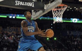 NEW ORLEANS - FEBRUARY 16: Dwight Howard of the Orlando Magic soars for a dunk during the Sprite Slam Dunk Contest, part of All-Star Weekend at the New Orleans Arena February 16, 2008 in New Orleans, Louisiana.  NOTE TO USER: User expressly acknowledges and agrees that, by downloading and/or using this Photograph, user is consenting to the terms and conditions of the Getty Images License Agreement. Mandatory Copyright Notice: Copyright 2008 NBAE (Photo by Terrence Vaccaro/NBAE via Getty Images)