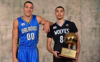 TORONTO, ON - FEBRUARY 13: Aaron Gordon of the Orlando Magic and Zach LaVine of the Minnesota Timberwolves poses for a portrait with the Verizon Slam Dunk trophy as part of NBA All-Star 2016 on February 13, 2016 at the Air Canada Centre in Toronto, Ontario Canada. NOTE TO USER: User expressly acknowledges and agrees that, by downloading and/or using this photograph, user is consenting to the terms and conditions of the Getty Images License Agreement.  Mandatory Copyright Notice: Copyright 2016 NBAE (Photo by Jesse D. Garrabrant/NBAE via Getty Images)