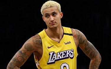 NEW YORK, NEW YORK - JANUARY 23:  Kyle Kuzma #0 of the Los Angeles Lakers in action against the Brooklyn Nets at Barclays Center on January 23, 2020 in New York City. NOTE TO USER: User expressly acknowledges and agrees that, by downloading and or using this photograph, User is consenting to the terms and conditions of the Getty Images License Agreement. (Photo by Mike Stobe/Getty Images)