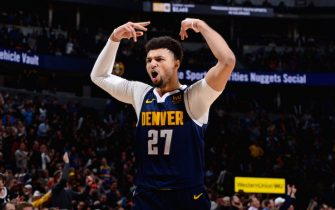 DENVER, CO - FEBRUARY 10: Jamal Murray #27 of the Denver Nuggets reacts to a play during a game against the San Antonio Spurs on February 10, 2020 at the Pepsi Center in Denver, Colorado. NOTE TO USER: User expressly acknowledges and agrees that, by downloading and/or using this Photograph, user is consenting to the terms and conditions of the Getty Images License Agreement. Mandatory Copyright Notice: Copyright 2020 NBAE (Photo by Bart Young/NBAE via Getty Images)