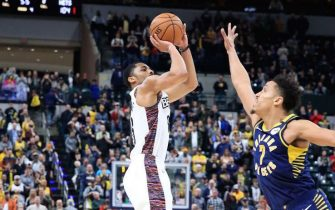 INDIANAPOLIS, INDIANA - FEBRUARY 10:  Spencer Dinwiddie #26 of the Brooklyn Nets hits the game winning shot in the 106-105 win against the Indiana Pacers at Bankers Life Fieldhouse on February 10, 2020 in Indianapolis, Indiana.    NOTE TO USER: User expressly acknowledges and agrees that, by downloading and or using this photograph, User is consenting to the terms and conditions of the Getty Images License Agreement. (Photo by Andy Lyons/Getty Images)