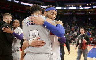 DETROIT, MI - FEBRUARY 10: Miles Bridges #0 of the Charlotte Hornets hugs Bruce Brown #6 of the Detroit Pistons after the game on February 10, 2020 at Little Caesars Arena in Detroit, Michigan. NOTE TO USER: User expressly acknowledges and agrees that, by downloading and/or using this photograph, User is consenting to the terms and conditions of the Getty Images License Agreement. Mandatory Copyright Notice: Copyright 2020 NBAE (Photo by Brian Sevald/NBAE via Getty Images)