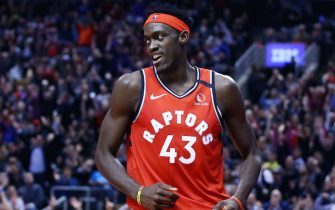 TORONTO, ON - FEBRUARY 10:  Pascal Siakam #43 of the Toronto Raptors reacts after sinking a basket during the second half of an NBA game against the Minnesota Timberwolves at Scotiabank Arena on February 10, 2020 in Toronto, Canada.  NOTE TO USER: User expressly acknowledges and agrees that, by downloading and or using this photograph, User is consenting to the terms and conditions of the Getty Images License Agreement.  (Photo by Vaughn Ridley/Getty Images)