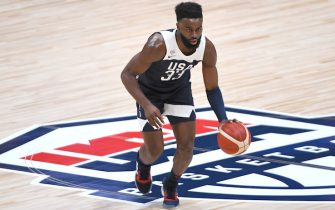 ANAHEIM, CA - AUGUST 16:   Jaylen Brown #33 of the USA Men's National Team takes the ball down court during the game against Spain at Honda Center on August 16, 2019 in Anaheim, California. (Photo by Jayne Kamin-Oncea/Getty Images)