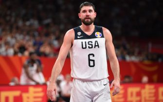 SHENZHEN, CHINA - SEPTEMBER 9: Joe Harris #6 of USA looks on against Team Brazil during the FIBA World Cup on September 9, 2019 at the Shenzhen Bay Sports Center in Shenzhen, China. NOTE TO USER: User expressly acknowledges and agrees that, by downloading and/or using this photograph, user is consenting to the terms and conditions of the Getty Images License Agreement. Mandatory Copyright Notice: Copyright 2019 NBAE  (Photo by David Dow/NBAE via Getty Images)