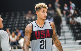 EL SEGUNDO, CALIFORNIA - AUGUST 15: Kyle Kuzma looks on during a workout at the 2019 USA Men's National Team World Cup training camp at UCLA Health Training Center on August 15, 2019 in El Segundo, California. (Photo by Cassy Athena/Getty Images)