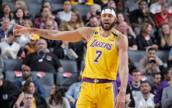 SACRAMENTO, CA - FEBRUARY 1: JaVale McGee #7 of the Los Angeles Lakers looks on during the game against the Sacramento Kings on February 1, 2020 at Golden 1 Center in Sacramento, California. NOTE TO USER: User expressly acknowledges and agrees that, by downloading and or using this photograph, User is consenting to the terms and conditions of the Getty Images Agreement. Mandatory Copyright Notice: Copyright 2020 NBAE (Photo by Rocky Widner/NBAE via Getty Images)