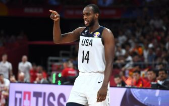 BEIJING, CHINA - SEPTEMBER 14: Khris Middleton #14 of Team USA looks on during the game against Team Poland during the 2019 FIBA World Cup Classification 7-8 at the Cadillac Arena on September 14, 2019 in Beijing, China.  NOTE TO USER: User expressly acknowledges and agrees that, by downloading and/or using this Photograph, user is consenting to the terms and conditions of the Getty Images License Agreement. Mandatory Copyright Notice: Copyright 2019 NBAE (Photo by Garrett W. Ellwood/NBAE via Getty Images)