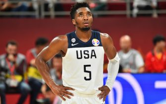 BEIJING, CHINA - SEPTEMBER 14: Donovan Mitchell #5 of the USA Men's National Team against Team Poland during the 2019 FIBA World Cup Classification 7-8 at the Cadillac Arena on September 14, 2019 in Beijing, China.  NOTE TO USER: User expressly acknowledges and agrees that, by downloading and/or using this Photograph, user is consenting to the terms and conditions of the Getty Images License Agreement. Mandatory Copyright Notice: Copyright 2019 NBAE (Photo by Jesse D. Garrabrant/NBAE via Getty Images)
