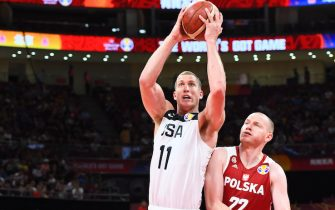BEIJING, CHINA - SEPTEMBER 14: Mason Plumlee #11 of Team USA shoots the ball against Team Poland during the 2019 FIBA World Cup Classification 7-8 at the Cadillac Arena on September 14, 2019 in Beijing, China.  NOTE TO USER: User expressly acknowledges and agrees that, by downloading and/or using this Photograph, user is consenting to the terms and conditions of the Getty Images License Agreement. Mandatory Copyright Notice: Copyright 2019 NBAE (Photo by Garrett W. Ellwood/NBAE via Getty Images)
