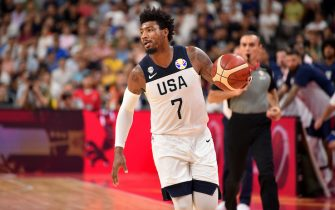 DONGGUAN, CHINA - SEPTEMBER 11: Marcus Smart #7 of USA handles the ball against France during the 2019 FIBA World Cup Quarter-Finals on September 11, 2019 at the Dongguan Basketball Center in Dongguan, China. NOTE TO USER: User expressly acknowledges and agrees that, by downloading and/or using this photograph, user is consenting to the terms and conditions of the Getty Images License Agreement. Mandatory Copyright Notice: Copyright 2019 NBAE (Photo by David Dow/NBAE via Getty Images)