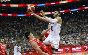 xxx of the China National Team drives/shoots against the China National Team during the 1st round of 2019 FIBA World Cup at  on September 3, 2019 in Shanghai, China.