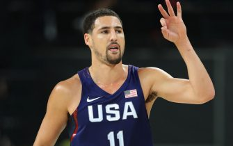 RIO DE JANEIRO, BRAZIL - AUGUST 21:  Klay Thompson of the United states gestures during the final match of the Men's basketball between Serbia and United States on day 16 at Carioca Arena 1 on August 21, 2016 in Rio de Janeiro, Brazil. (Photo by Ian MacNicol/Getty Images)