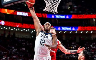 BEIJING, CHINA - SEPTEMBER 14:  #12 Myles Turner of the USA shoots during the class game 7-8 march between the USA and Poland of 2019 FIBA World Cup at the Cadillac Arena on September 14, 2019 in Beijing, China.  (Photo by DI YIN/Getty Images)