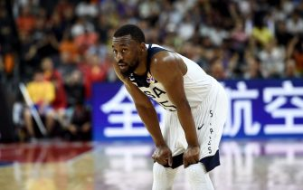 Kemba Walker of the US reacts after his team lost against France at the Basketball World Cup quarter-final game in Dongguan on September 11, 2019. (Photo by Ye Aung Thu / AFP)        (Photo credit should read YE AUNG THU/AFP via Getty Images)